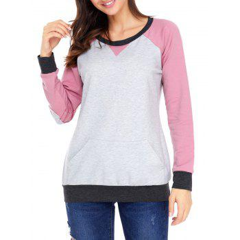 Kangaroo Pocket Color Block Elbow Patch Sweatshirt - PINK M