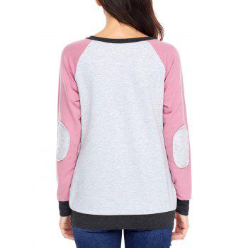 Kangaroo Pocket Color Block Elbow Patch Sweatshirt - PINK PINK