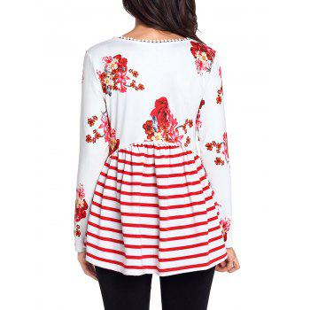 Trimmed Floral and Striped Tunic Top - WHITE S