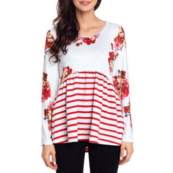 Trimmed Floral and Striped Tunic Top - WHITE M