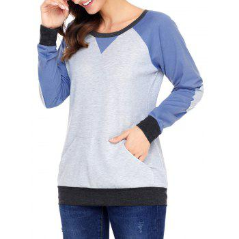 Kangaroo Pocket Color Block Elbow Patch Sweatshirt - BLUE BLUE