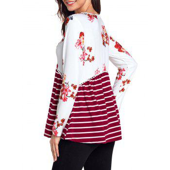 Trimmed Floral and Striped Tunic Top - RED 2XL