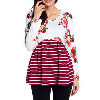 Trimmed Floral and Striped Tunic Top - RED XL