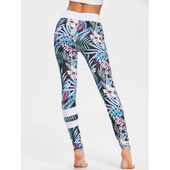 Tropical Floral Print High Waisted Leggings - FLORAL S