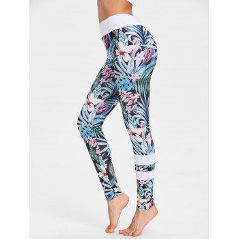 Tropical Floral Print High Waisted Leggings - FLORAL FLORAL