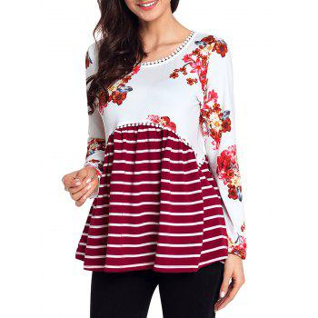 Trimmed Floral and Striped Tunic Top - RED M