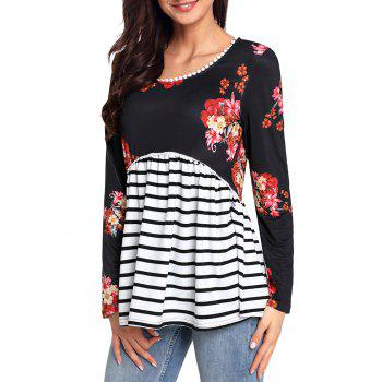 Trimmed Floral and Striped Tunic Top - BLACK BLACK