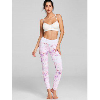 Feather Print Workout Leggings - PINK M