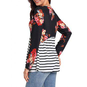 Trimmed Floral and Striped Tunic Top - BLACK XL