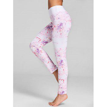 Feather Print Workout Leggings - PINK XL