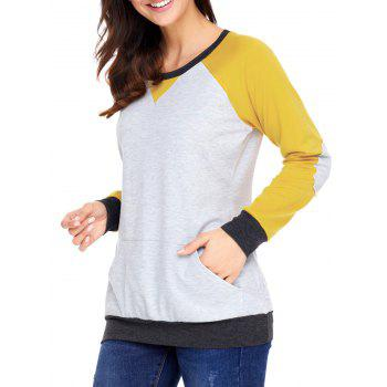 Kangaroo Pocket Color Block Elbow Patch Sweatshirt - YELLOW XL