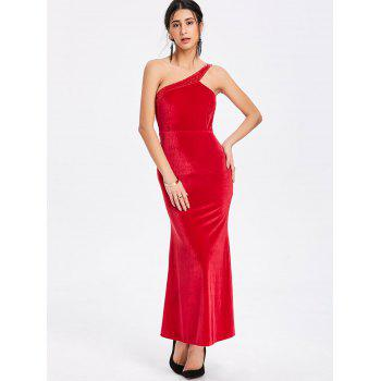 Sequin One Shoulder Maxi Party Dress - RED RED