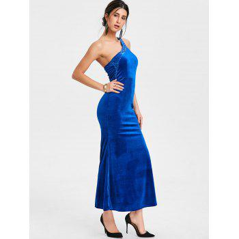 Sequin One Shoulder Maxi Party Dress - ROYAL ONE SIZE