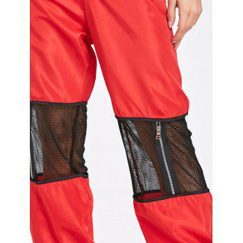 Zipper Fly Mesh Trim Pants - RED M