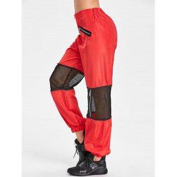 Zipper Fly Mesh Trim Pants - RED L