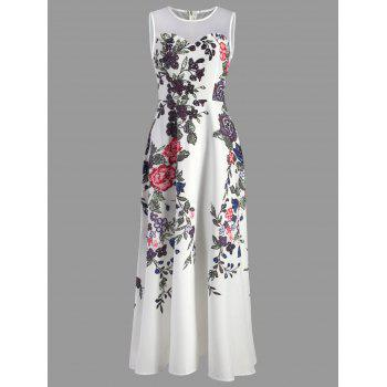 Floral Print Mesh Insert Maxi Dress - WHITE L