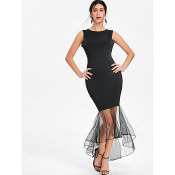 Mesh Panel Sleeveless Mermaid Bodycon Dress - BLACK BLACK