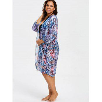 Serpentine Plus Size Long Cover Up Kimono - BLUE ONE SIZE
