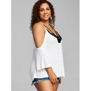 Plus Size Spaghetti Strap Open Shoulder Tee - WHITE 3XL
