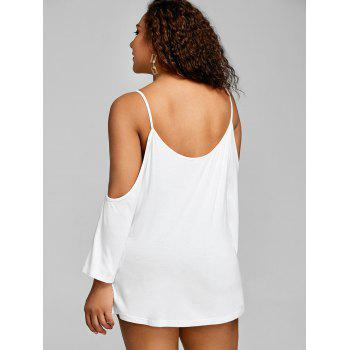 Plus Size Spaghetti Strap Open Shoulder Tee - WHITE 4XL