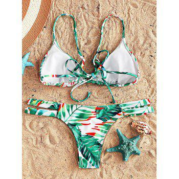 Strappy Floral String Bikini Swimsuit - GREEN GREEN