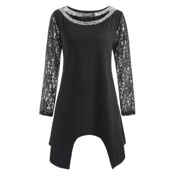 Sequin Cutout Plus Size Asymmetric T-shirt - BLACK 2XL