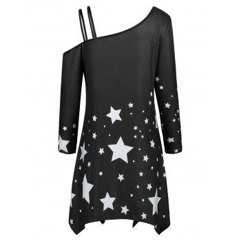 Asymmetric Star Print Skew Collar Dress - BLACK BLACK