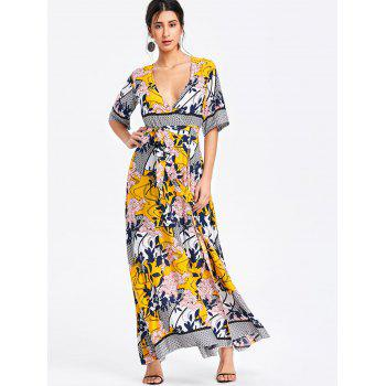 Bohemian Printed Maxi Surplice Slit Dress - YELLOW S