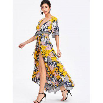 Bohemian Printed Maxi Surplice Slit Dress - YELLOW L