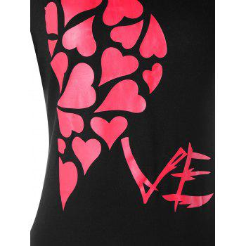 Valentines Day Heart Printed Matching Couple Short Sleeve T-shirt - BLACK WOMEN XL