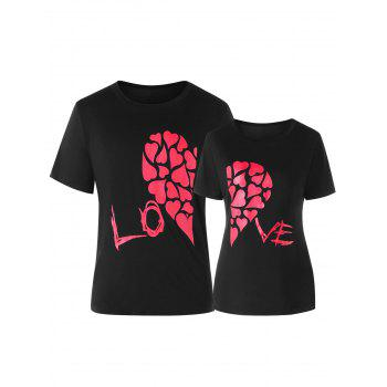 Valentines Day Heart Printed Matching Couple Short Sleeve T-shirt - BLACK BLACK