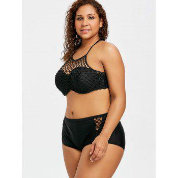 Plus Size Fishnet Halter High Waist Bikini - BLACK 2XL