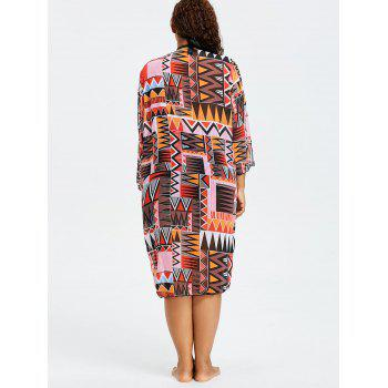 Tribal Plus Size  Long Swimsuit Cover Up Kimono - FLORAL ONE SIZE