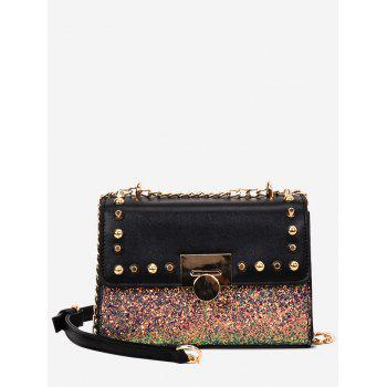 Sequined Studded Crossbody Bag