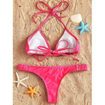 String Bikini and Thong Set - ROSE RED S