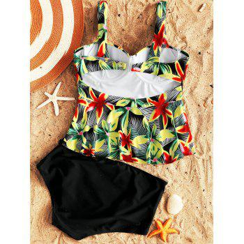 Tropical Floral Peplum Tankini Set - COLORMIX 2XL