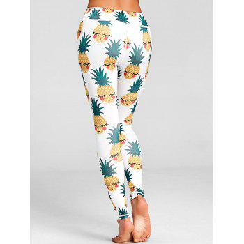 Pineapple Print High Waist Active Leggings - WHITE M