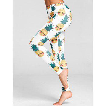 Pineapple Print High Waist Active Leggings - WHITE 2XL