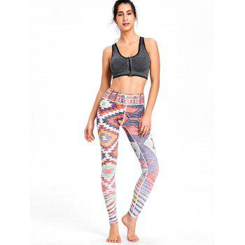 Multicolor Geometric Printed High Waisted Workout Leggings - COLORMIX M
