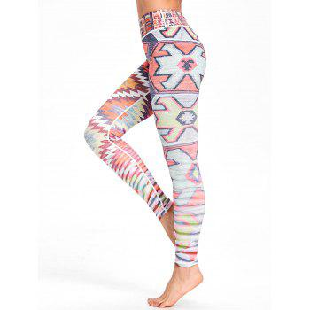 Multicolor Geometric Printed High Waisted Workout Leggings - COLORMIX L