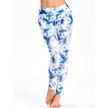 Tie Dyed Print High Waist Workout Leggings - COLORMIX L