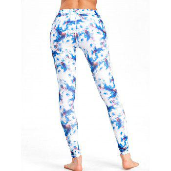 Tie Dyed Print High Waist Workout Leggings - COLORMIX XL