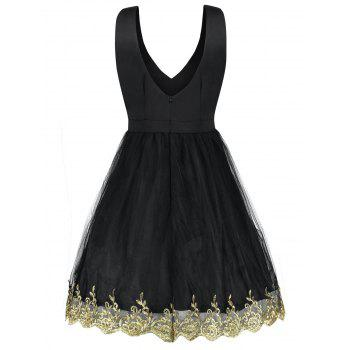 Robe Cocktail à Col en V - Noir S