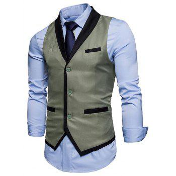 Shawl Collar Single Breasted Edging Waistcoat - SAGE GREEN S