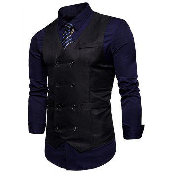 Slim Fit V Neck Double Breasted Waistcoat - BLACK S