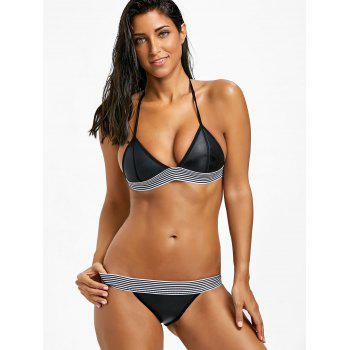Low Waisted Stripe Trim Bikini Set - BLACK L
