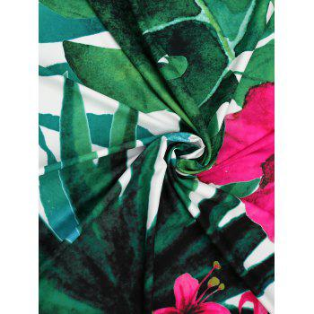 Tropical Plant Printed Fringed Beach Blanket Throw - COLORMIX ONE SIZE