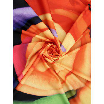 Multicolor Flower Fringed Beach Blanket Throw - COLORMIX ONE SIZE