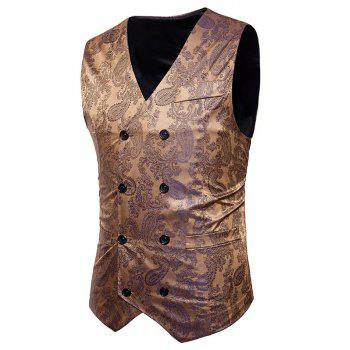 Double Breasted Paisley Pattern Waistcoat - GOLDEN S