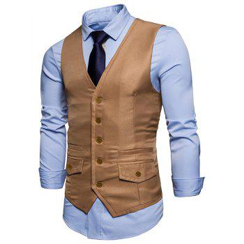 Contrast Trim Faux Pocket Single Breasted Waistcoat - KHAKI S